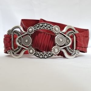 Chicos Belt Leather Stretch Red Silver Embossed